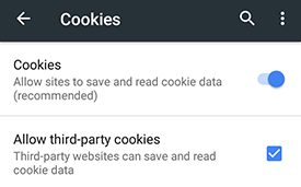 Chrome for Android Cookie Settings