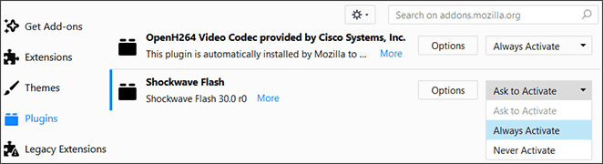 Firefox Flash Settings