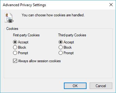 Internet Explorer Cookie Settings